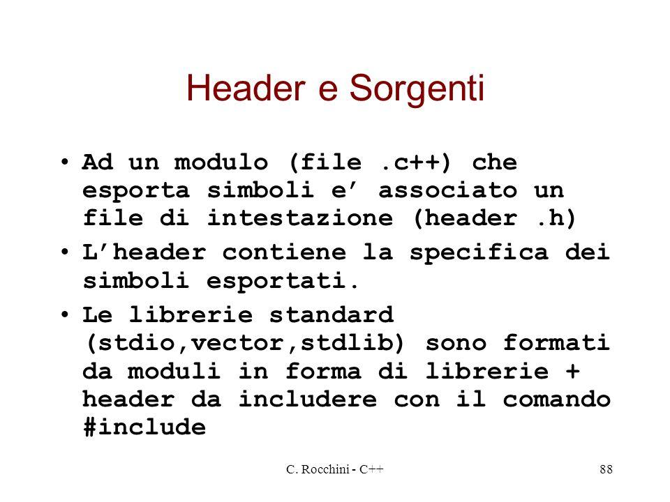 C. Rocchini - C++88 Header e Sorgenti Ad un modulo (file.c++) che esporta simboli e associato un file di intestazione (header.h) Lheader contiene la s