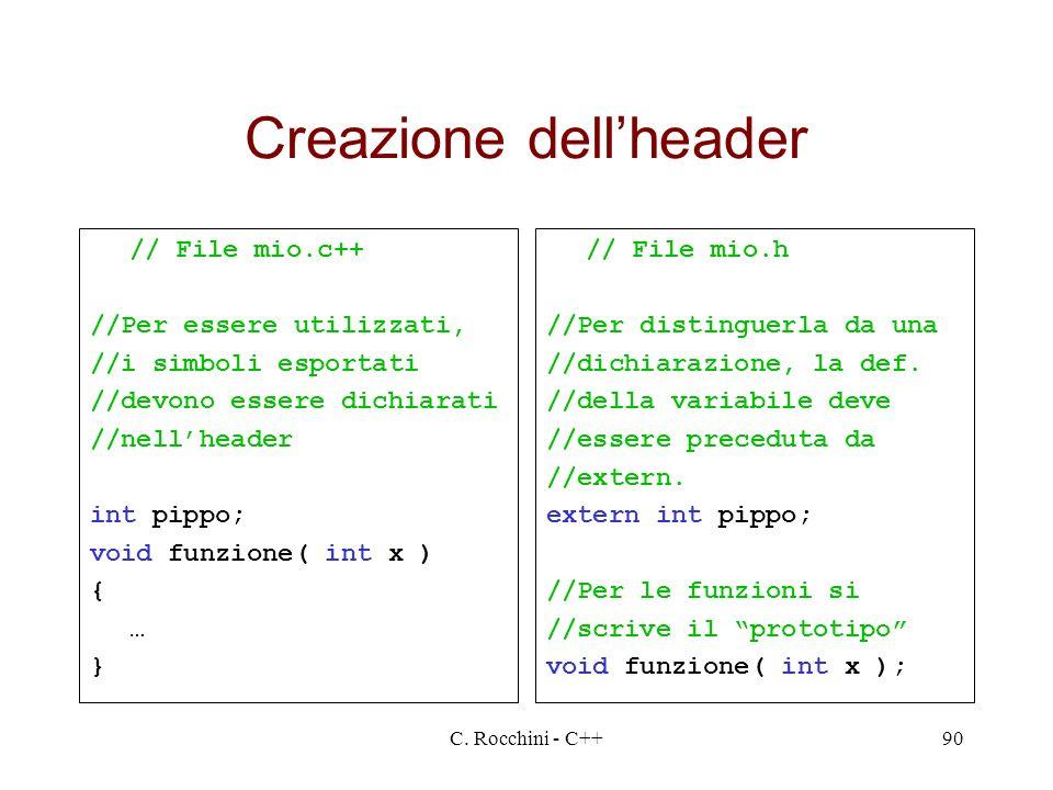 C. Rocchini - C++90 Creazione dellheader // File mio.c++ //Per essere utilizzati, //i simboli esportati //devono essere dichiarati //nellheader int pi