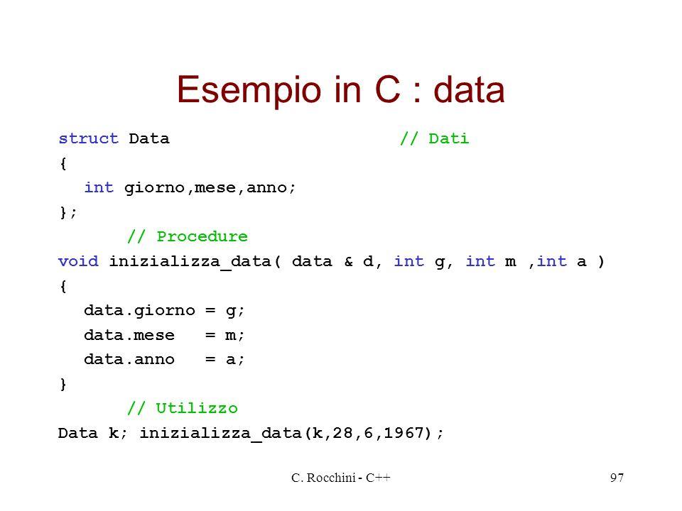 C. Rocchini - C++97 Esempio in C : data struct Data// Dati { int giorno,mese,anno; }; // Procedure void inizializza_data( data & d, int g, int m,int a