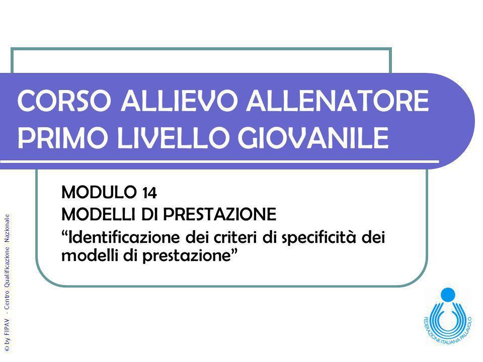 © by FIPAV - Centro Qualificazione Nazionale CORSO ALLIEVO ALLENATORE PRIMO LIVELLO GIOVANILE MODULO 14 MODELLI DI PRESTAZIONE Identificazione dei criteri di specificità dei modelli di prestazione