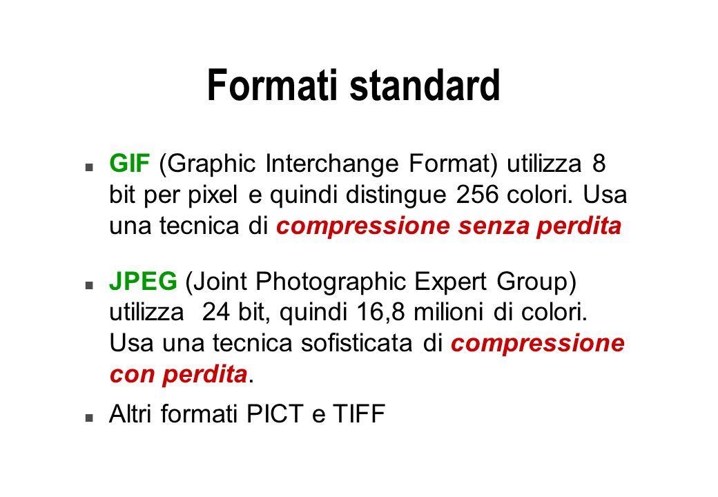 Formati standard n GIF (Graphic Interchange Format) utilizza 8 bit per pixel e quindi distingue 256 colori. Usa una tecnica di compressione senza perd