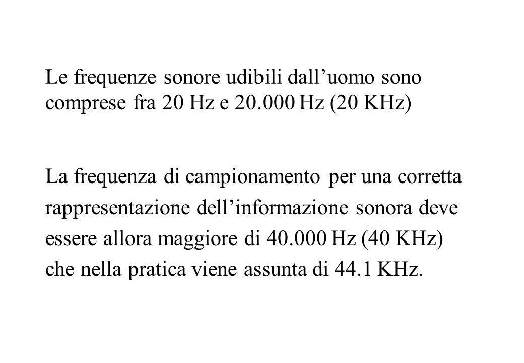 Le frequenze sonore udibili dalluomo sono comprese fra 20 Hz e 20.000 Hz (20 KHz) La frequenza di campionamento per una corretta rappresentazione dell