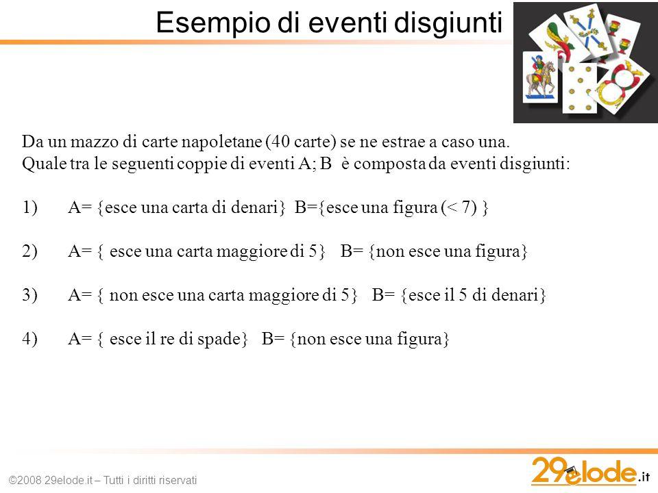 Esempio di eventi disgiunti ©2008 29elode.it – Tutti i diritti riservati Da un mazzo di carte napoletane (40 carte) se ne estrae a caso una.