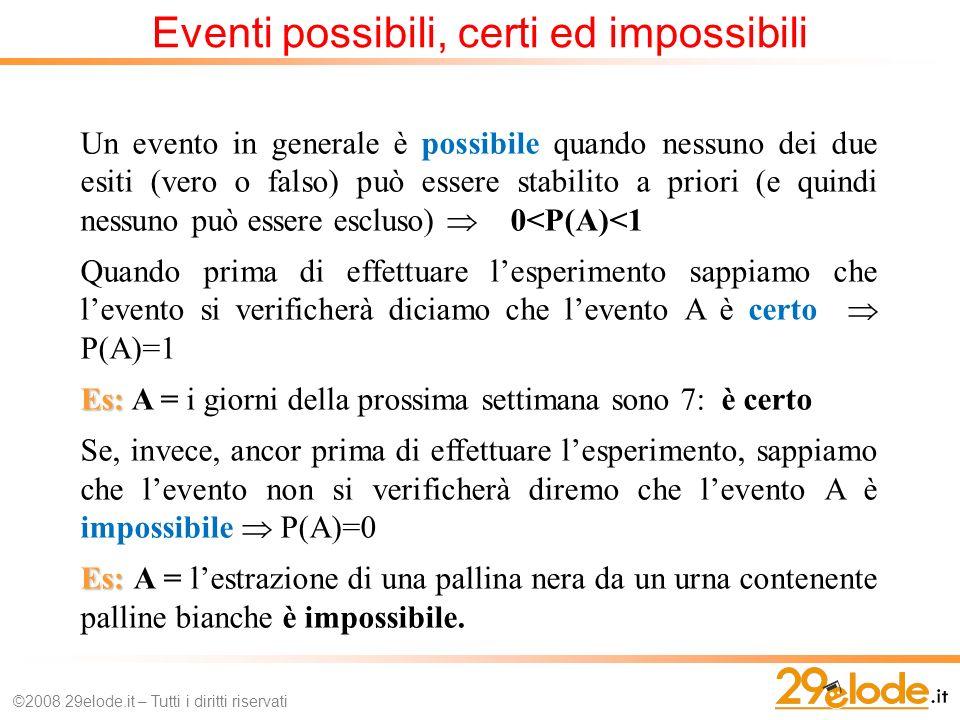 Eventi possibili, certi ed impossibili ©2008 29elode.it – Tutti i diritti riservati Un evento in generale è possibile quando nessuno dei due esiti (vero o falso) può essere stabilito a priori (e quindi nessuno può essere escluso) 0<P(A)<1 Quando prima di effettuare lesperimento sappiamo che levento si verificherà diciamo che levento A è certo P(A)=1 Es: Es: A = i giorni della prossima settimana sono 7: è certo Se, invece, ancor prima di effettuare lesperimento, sappiamo che levento non si verificherà diremo che levento A è impossibile P(A)=0 Es: Es: A = lestrazione di una pallina nera da un urna contenente palline bianche è impossibile.