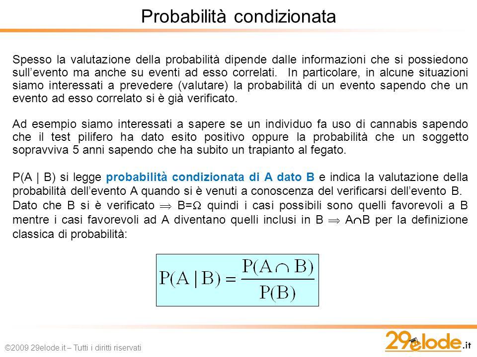 Spesso la valutazione della probabilità dipende dalle informazioni che si possiedono sullevento ma anche su eventi ad esso correlati.