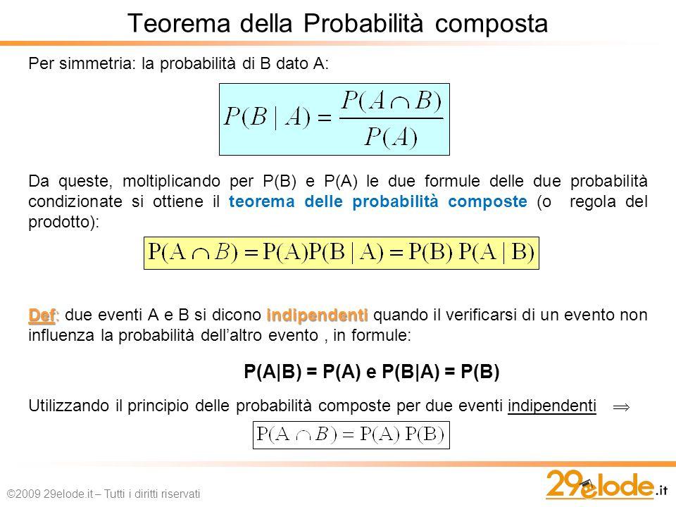 Per simmetria: la probabilità di B dato A: Da queste, moltiplicando per P(B) e P(A) le due formule delle due probabilità condizionate si ottiene il teorema delle probabilità composte (o regola del prodotto): Def: indipendenti Def: due eventi A e B si dicono indipendenti quando il verificarsi di un evento non influenza la probabilità dellaltro evento, in formule: P(A|B) = P(A) e P(B|A) = P(B) Utilizzando il principio delle probabilità composte per due eventi indipendenti Teorema della Probabilità composta ©2009 29elode.it – Tutti i diritti riservati