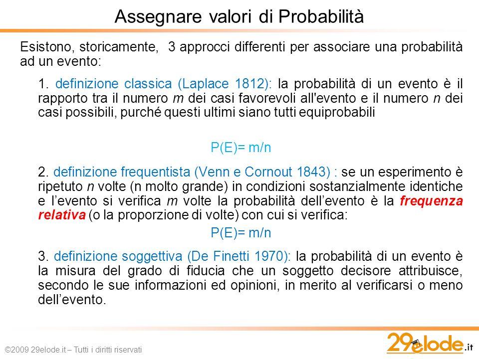 Esistono, storicamente, 3 approcci differenti per associare una probabilità ad un evento: 1.