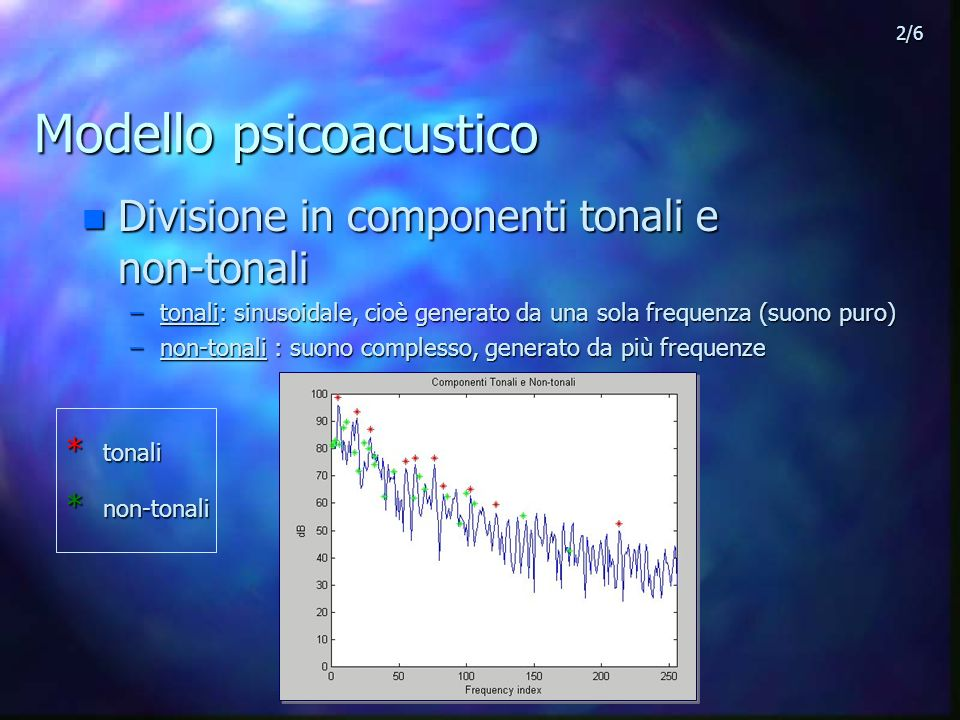Modello psicoacustico n Divisione in componenti tonali e non-tonali –tonali: sinusoidale, cioè generato da una sola frequenza (suono puro) –non-tonali : suono complesso, generato da più frequenze * tonali * non-tonali 2/6