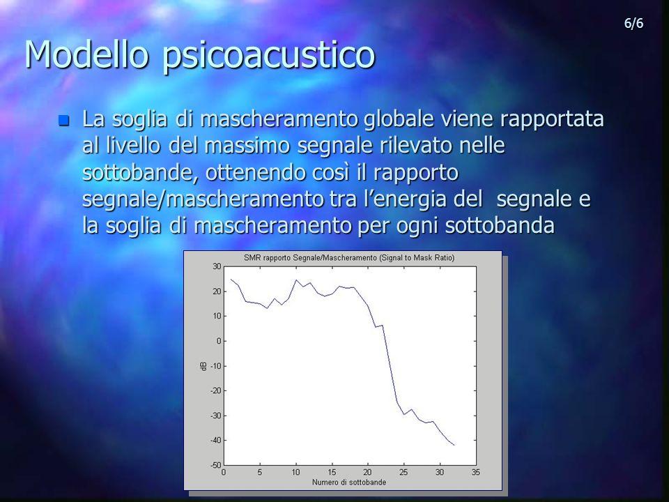Modello psicoacustico n La soglia di mascheramento globale viene rapportata al livello del massimo segnale rilevato nelle sottobande, ottenendo così il rapporto segnale/mascheramento tra lenergia del segnale e la soglia di mascheramento per ogni sottobanda 6/6