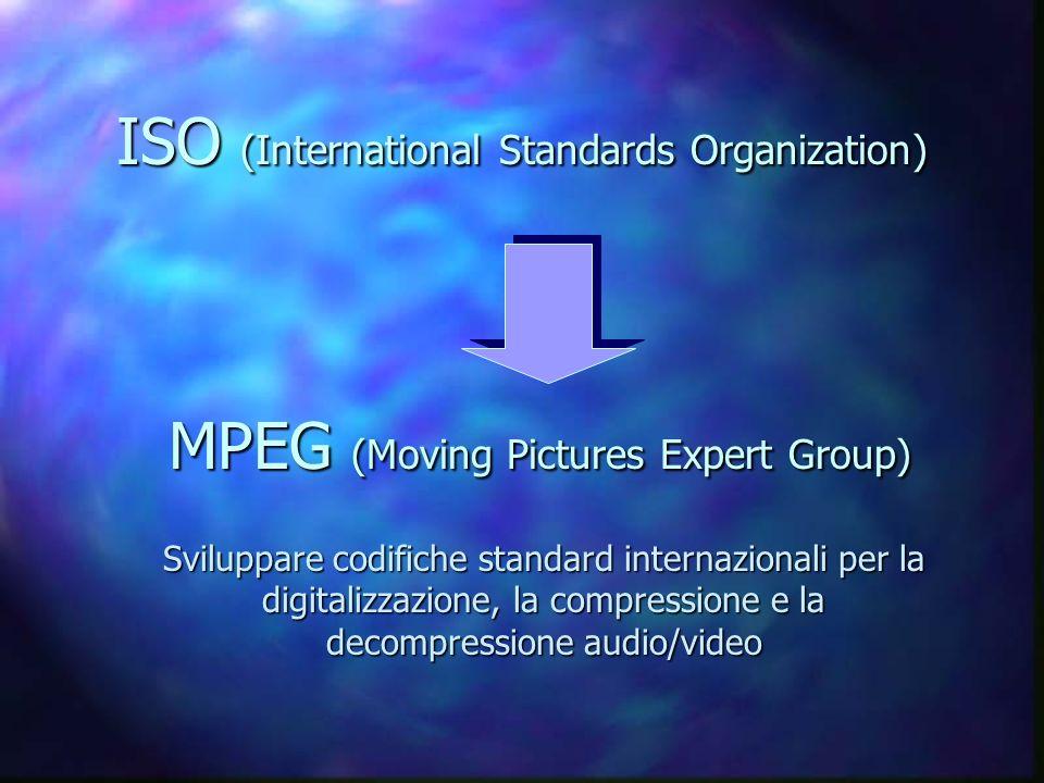 ISO (International Standards Organization) MPEG (Moving Pictures Expert Group) Sviluppare codifiche standard internazionali per la digitalizzazione, la compressione e la decompressione audio/video