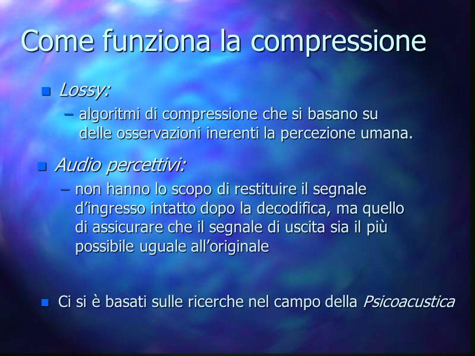 Come funziona la compressione n Lossy: –algoritmi di compressione che si basano su delle osservazioni inerenti la percezione umana.