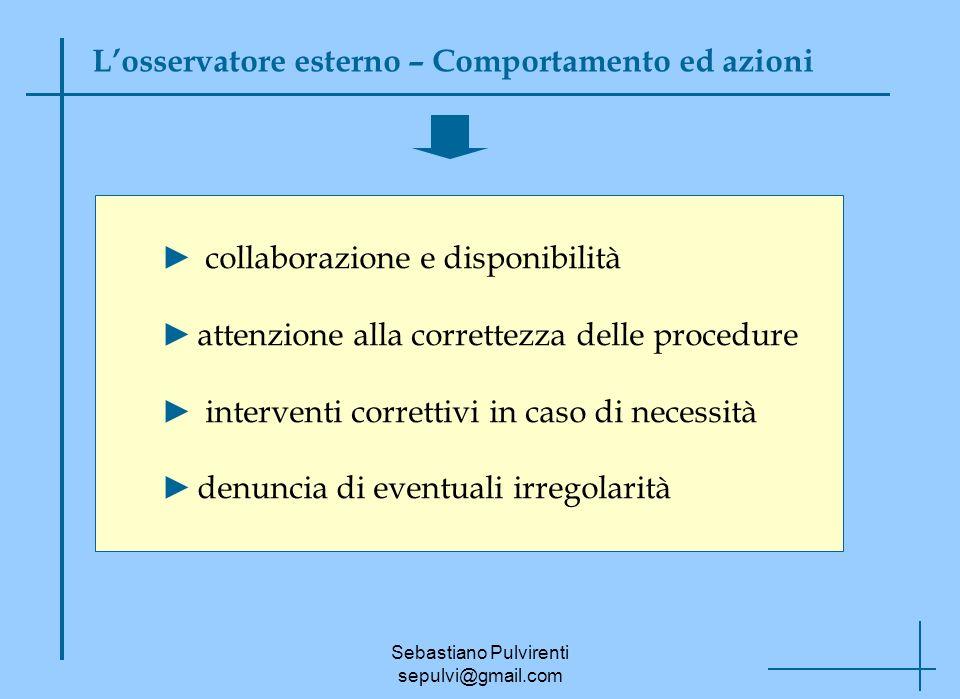 Sebastiano Pulvirenti sepulvi@gmail.com Losservatore esterno – Comportamento ed azioni collaborazione e disponibilità attenzione alla correttezza dell