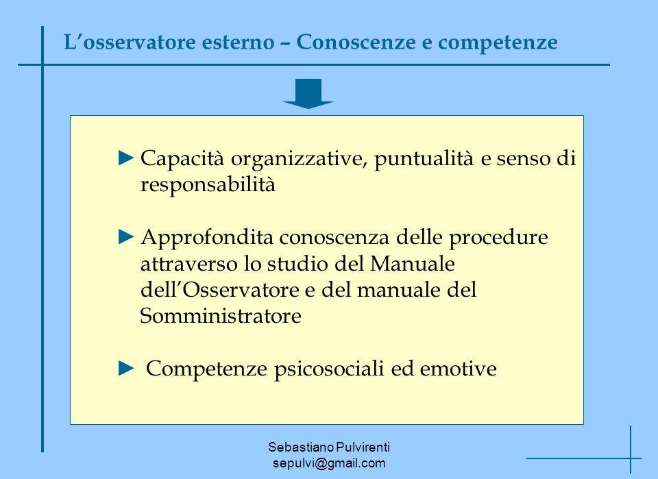 Sebastiano Pulvirenti sepulvi@gmail.com Losservatore esterno – Conoscenze e competenze Capacità organizzative, puntualità e senso di responsabilità Ap