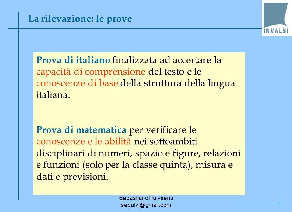 Sebastiano Pulvirenti sepulvi@gmail.com La rilevazione: le prove Prova di italiano finalizzata ad accertare la capacità di comprensione del testo e le
