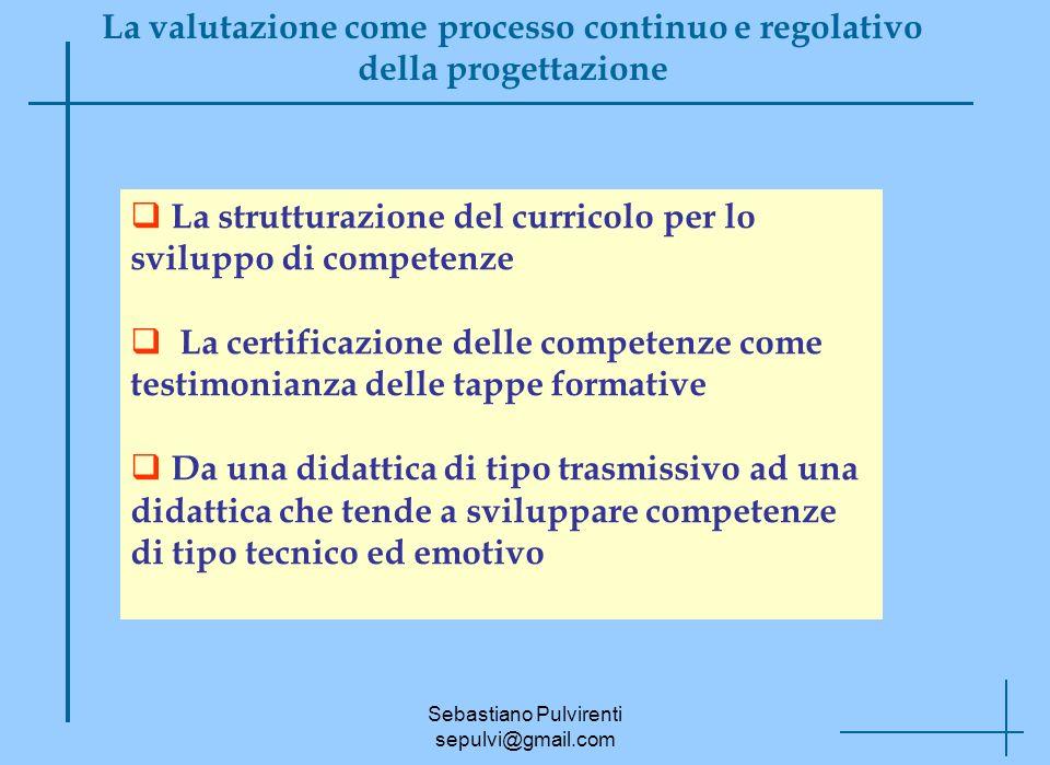 Sebastiano Pulvirenti sepulvi@gmail.com La valutazione come processo continuo e regolativo della progettazione La strutturazione del curricolo per lo