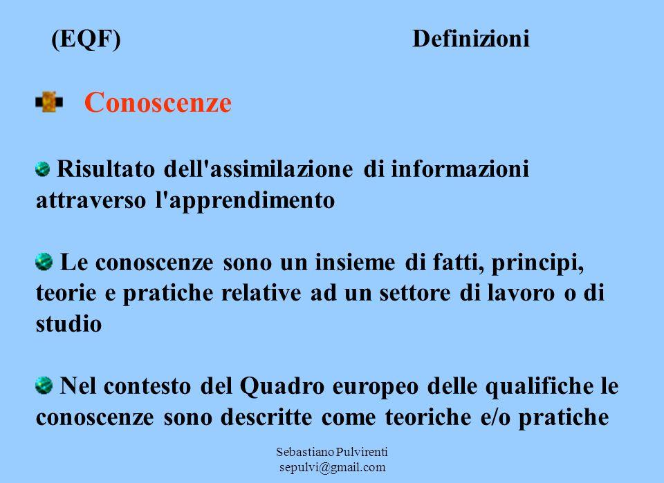 Sebastiano Pulvirenti sepulvi@gmail.com (EQF) Definizioni Conoscenze Risultato dell'assimilazione di informazioni attraverso l'apprendimento Le conosc