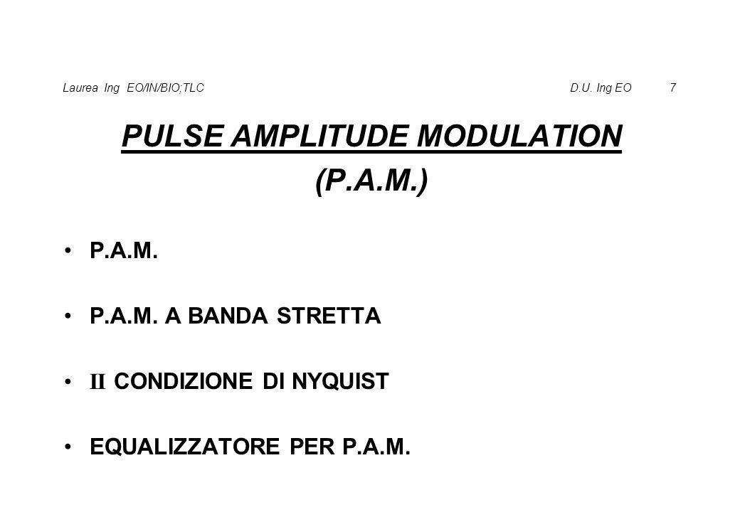 Laurea Ing EO/IN/BIO;TLC D.U. Ing EO 7 PULSE AMPLITUDE MODULATION (P.A.M.) P.A.M. P.A.M. A BANDA STRETTA II CONDIZIONE DI NYQUIST EQUALIZZATORE PER P.