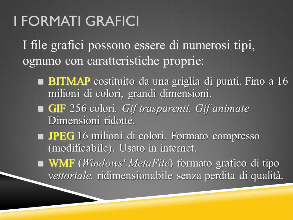 I FORMATI GRAFICI I file grafici possono essere di numerosi tipi, ognuno con caratteristiche proprie: BITMAP costituito da una griglia di punti. Fino