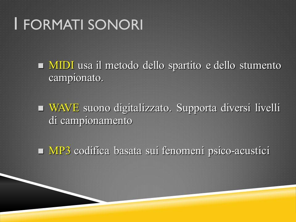 I FORMATI SONORI MIDI usa il metodo dello spartito e dello stumento campionato. MIDI usa il metodo dello spartito e dello stumento campionato. WAVE su