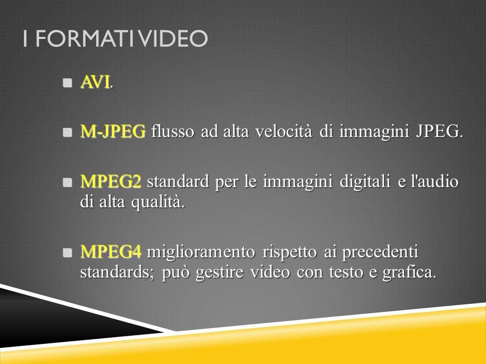 I FORMATI VIDEO AVI. AVI. M-JPEG flusso ad alta velocità di immagini JPEG. M-JPEG flusso ad alta velocità di immagini JPEG. MPEG2 standard per le imma