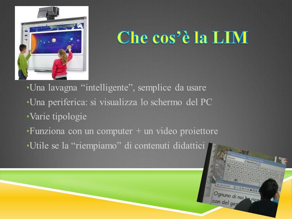 Una lavagna intelligente, semplice da usare Una periferica: si visualizza lo schermo del PC Varie tipologie Funziona con un computer + un video proiet