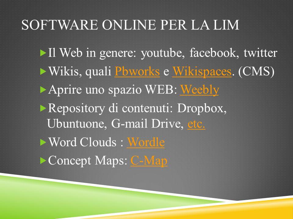 SOFTWARE ONLINE PER LA LIM Il Web in genere: youtube, facebook, twitter Wikis, quali Pbworks e Wikispaces. (CMS)PbworksWikispaces Aprire uno spazio WE