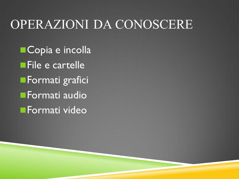 OPERAZIONI DA CONOSCERE Copia e incolla File e cartelle Formati grafici Formati audio Formati video