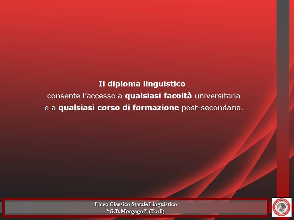 Il diploma linguistico consente laccesso a qualsiasi facoltà universitaria e a qualsiasi corso di formazione post-secondaria. Liceo Classico Statale L