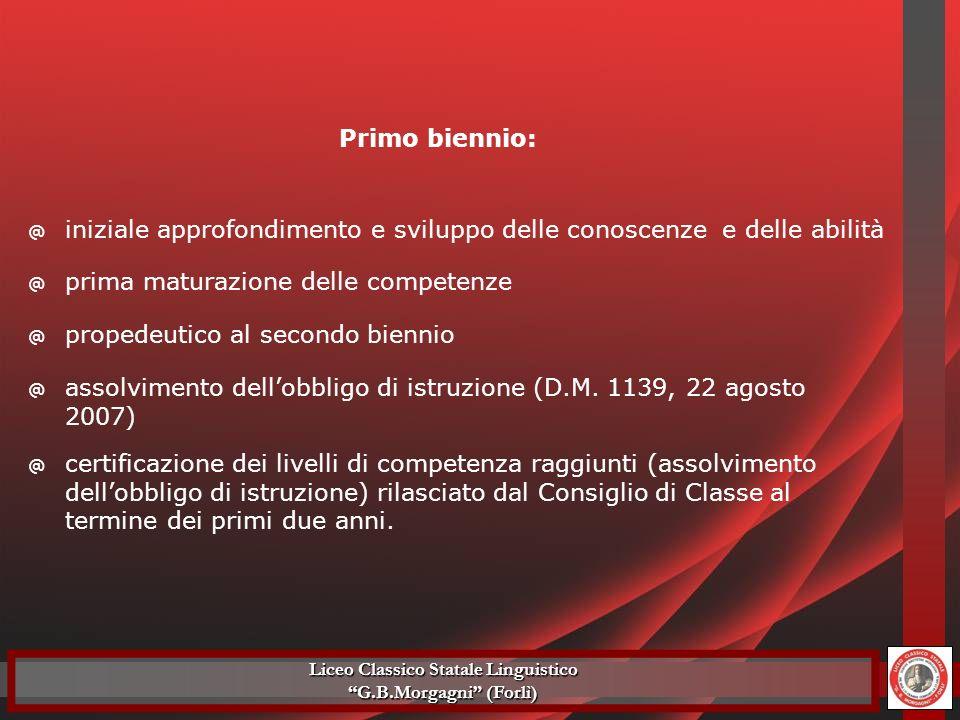 @ approfondimento e sviluppo delle conoscenze e delle abilità secondo biennio: @ maturazione delle competenze Liceo Classico Statale Linguistico G.B.Morgagni (Forlì)