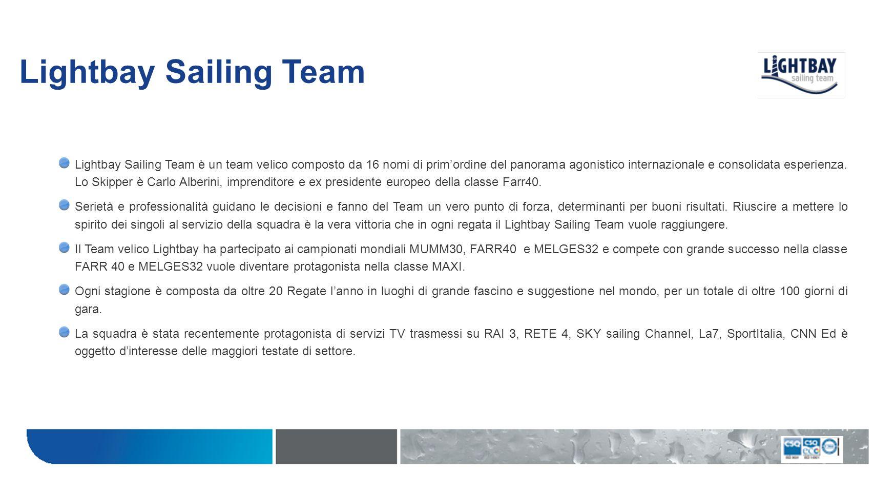 Lightbay Sailing Team Lightbay Sailing Team è un team velico composto da 16 nomi di primordine del panorama agonistico internazionale e consolidata es