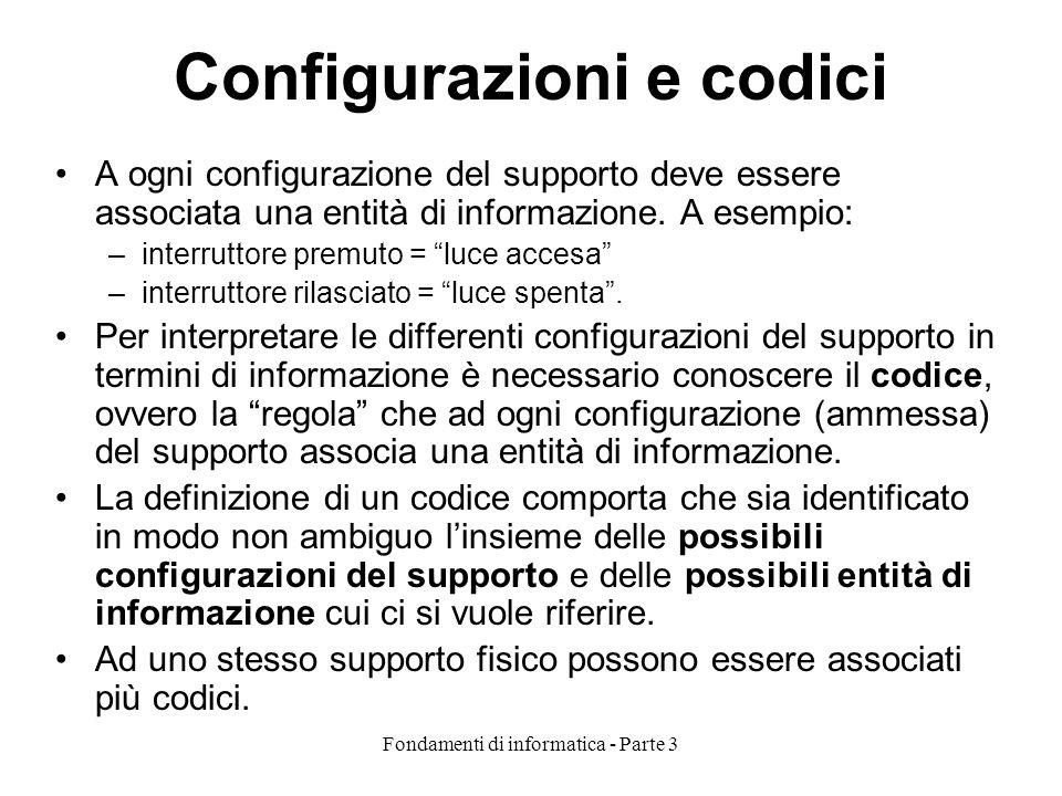 Fondamenti di informatica - Parte 3 Configurazioni e codici A ogni configurazione del supporto deve essere associata una entità di informazione. A ese