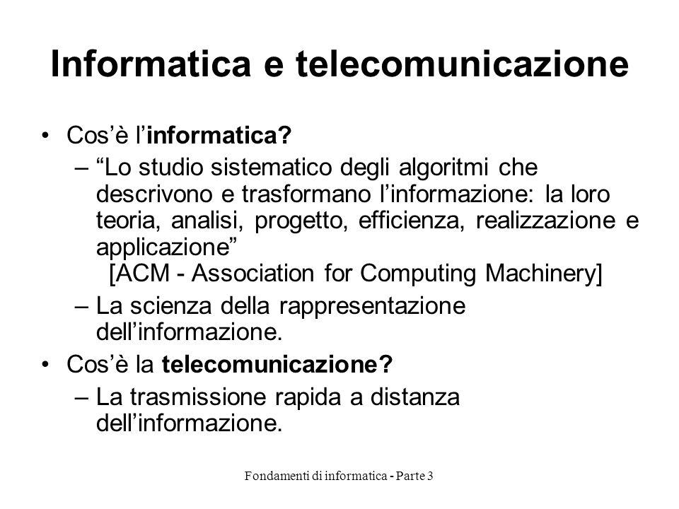 Fondamenti di informatica - Parte 3 Informatica e telecomunicazione Cosè linformatica? –Lo studio sistematico degli algoritmi che descrivono e trasfor