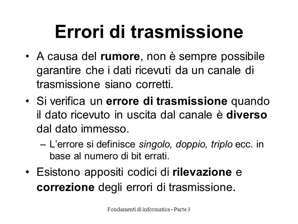 Fondamenti di informatica - Parte 3 Errori di trasmissione A causa del rumore, non è sempre possibile garantire che i dati ricevuti da un canale di trasmissione siano corretti.