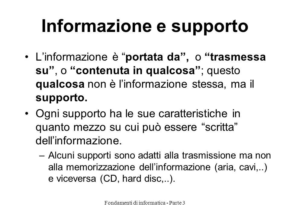 Fondamenti di informatica - Parte 3 Informazione e supporto Linformazione è portata da, o trasmessa su, o contenuta in qualcosa; questo qualcosa non è linformazione stessa, ma il supporto.