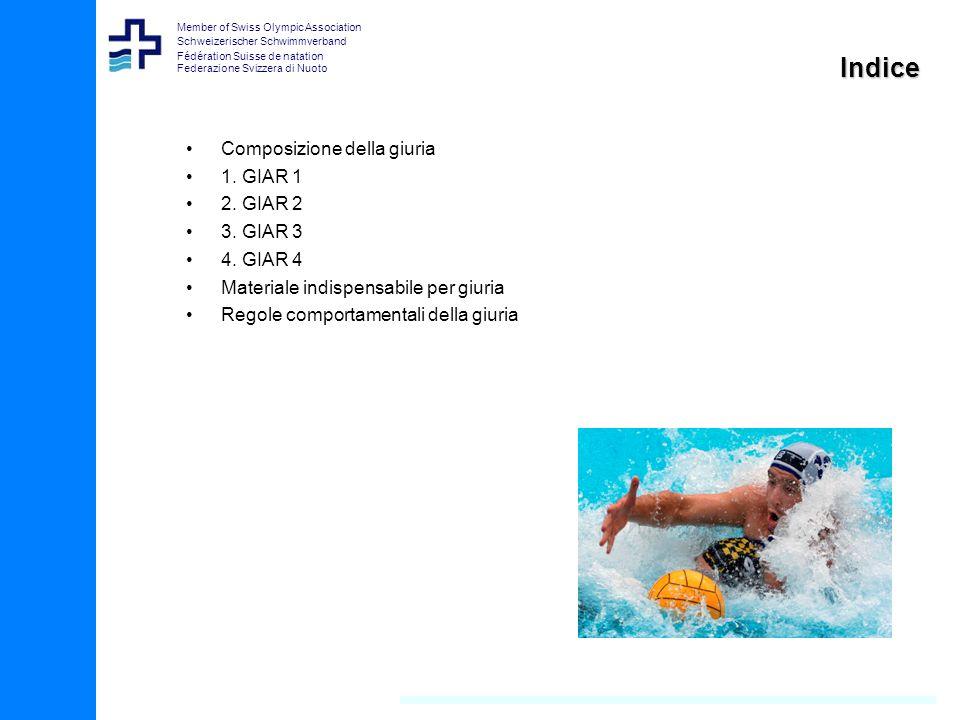 Member of Swiss Olympic Association Schweizerischer Schwimmverband Fédération Suisse de natation Federazione Svizzera di Nuoto Indice Composizione della giuria 1.
