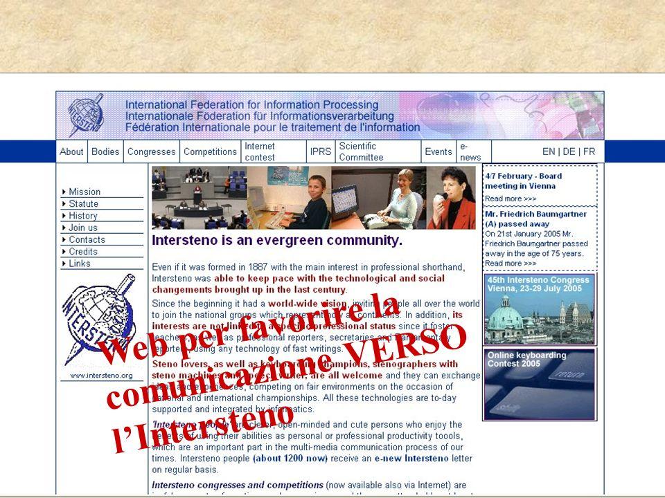 Web per favorire comunicazione VERSO lIntersteno Web per favorire la comunicazione VERSO lIntersteno