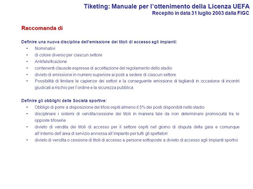 Tiketing: Manuale per lottenimento della Licenza UEFA Recepito in data 31 luglio 2003 dalla FIGC Definire una nuova disciplina dellemissione dei titol