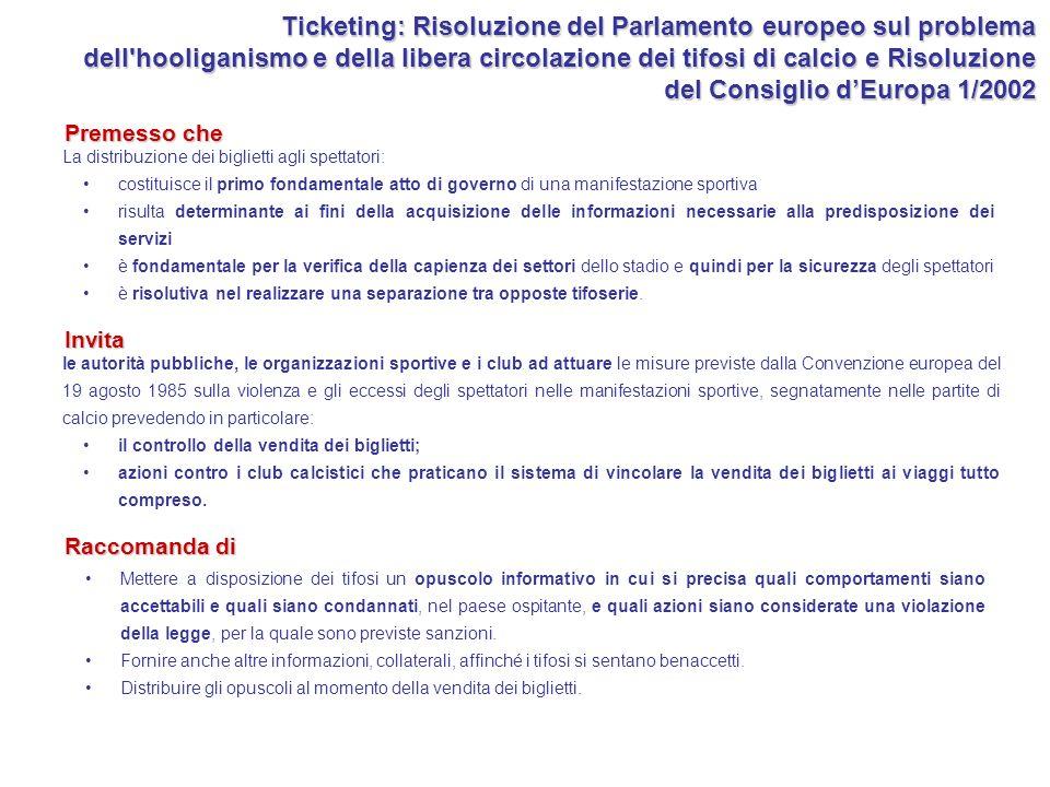 Ticketing: Risoluzione del Parlamento europeo sul problema dell'hooliganismo e della libera circolazione dei tifosi di calcio e Risoluzione del Consig