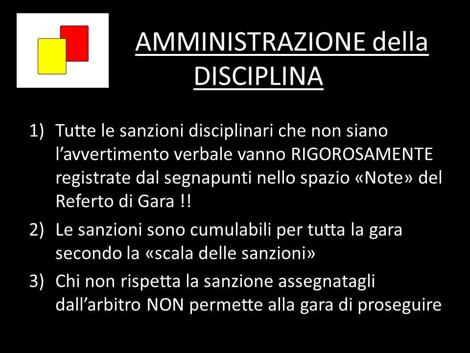 AMMINISTRAZIONE della DISCIPLINA 1)Tutte le sanzioni disciplinari che non siano lavvertimento verbale vanno RIGOROSAMENTE registrate dal segnapunti ne