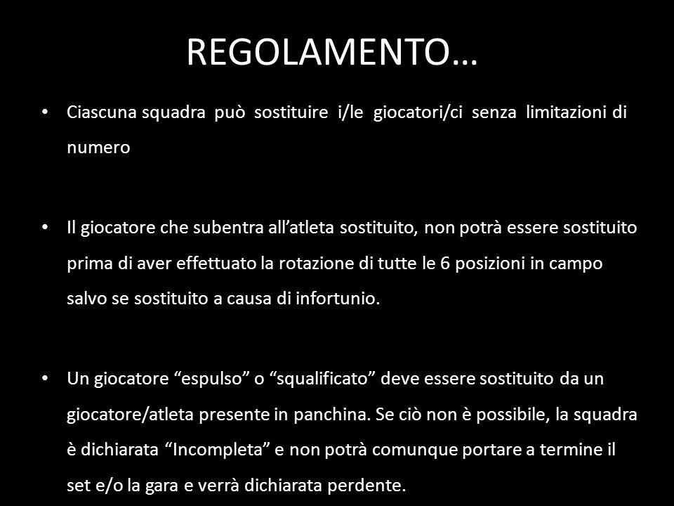 REGOLAMENTO… Ciascuna squadra può sostituire i/le giocatori/ci senza limitazioni di numero Il giocatore che subentra allatleta sostituito, non potrà e