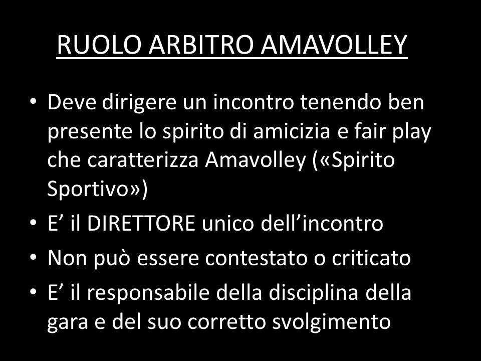 RUOLO ARBITRO AMAVOLLEY Deve dirigere un incontro tenendo ben presente lo spirito di amicizia e fair play che caratterizza Amavolley («Spirito Sportiv