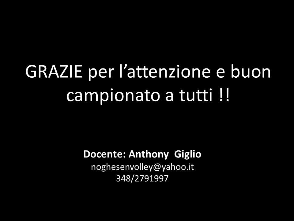 GRAZIE per lattenzione e buon campionato a tutti !! Docente: Anthony Giglio noghesenvolley@yahoo.it 348/2791997