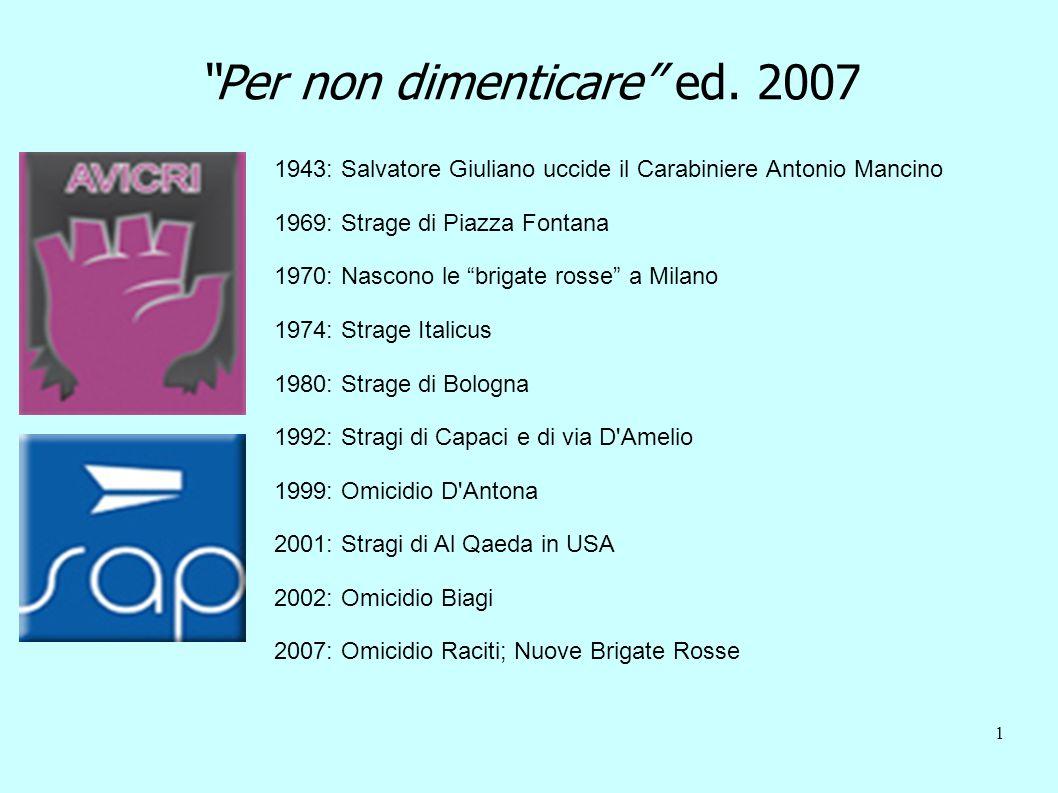1 Per non dimenticare ed. 2007 1943: Salvatore Giuliano uccide il Carabiniere Antonio Mancino 1969: Strage di Piazza Fontana 1970: Nascono le brigate