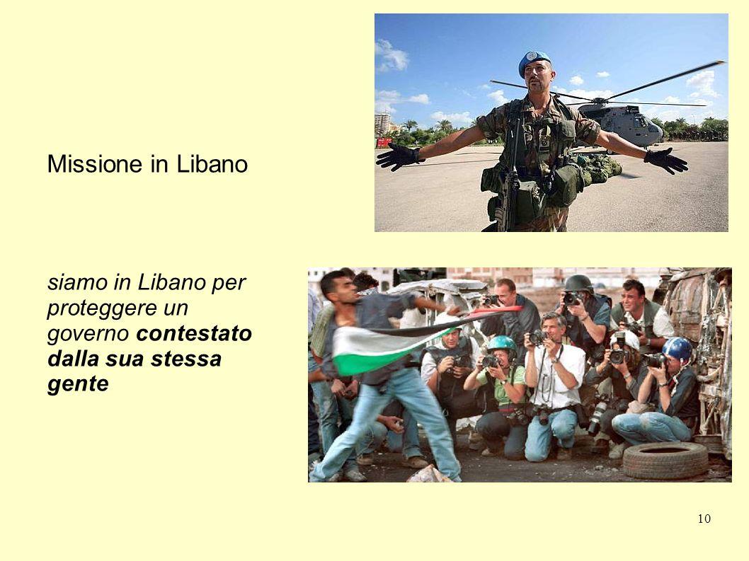 10 Missione in Libano siamo in Libano per proteggere un governo contestato dalla sua stessa gente