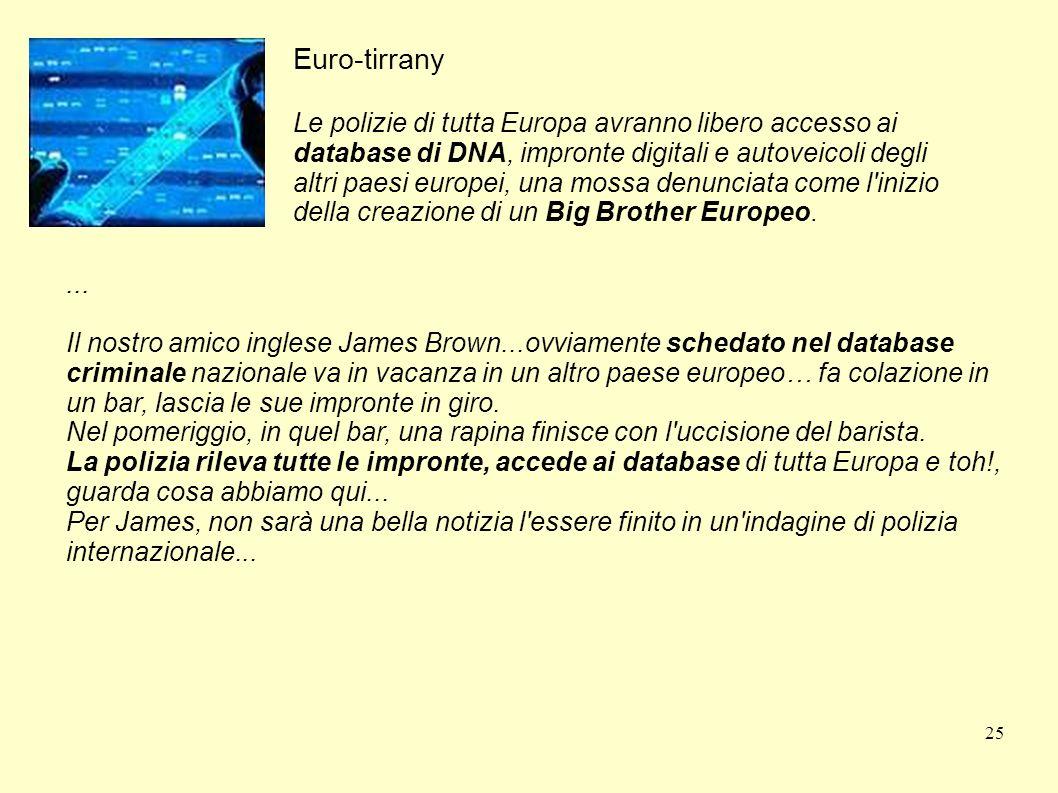 25 Euro-tirrany Le polizie di tutta Europa avranno libero accesso ai database di DNA, impronte digitali e autoveicoli degli altri paesi europei, una m