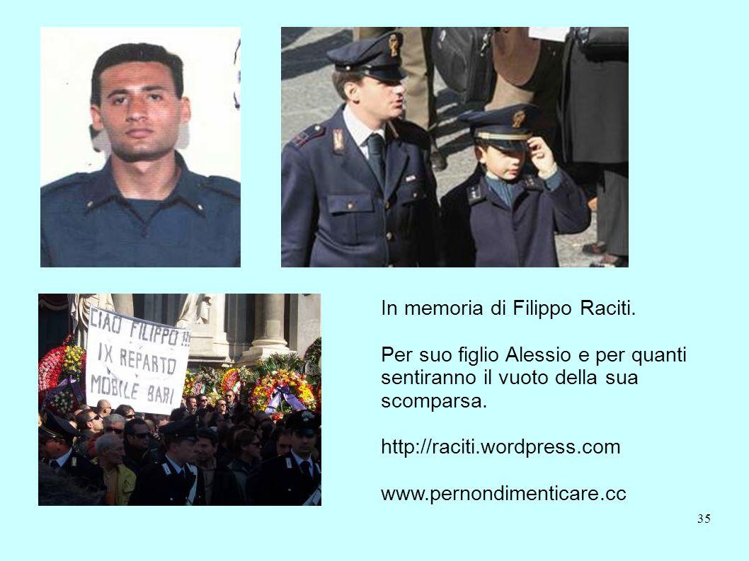 35 In memoria di Filippo Raciti. Per suo figlio Alessio e per quanti sentiranno il vuoto della sua scomparsa. http://raciti.wordpress.com www.pernondi