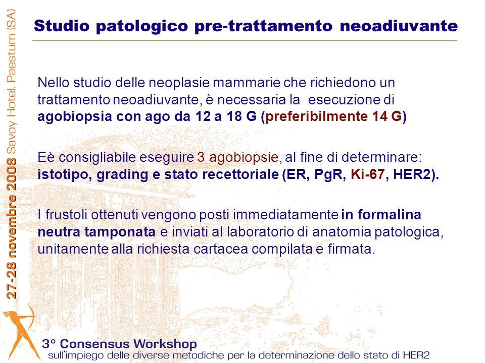 Nello studio delle neoplasie mammarie che richiedono un trattamento neoadiuvante, è necessaria la esecuzione di agobiopsia con ago da 12 a 18 G (prefe