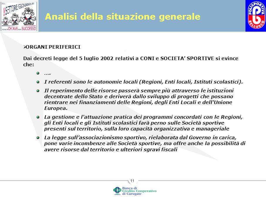 11 Analisi della situazione generale ORGANI PERIFERICI Dai decreti legge del 5 luglio 2002 relativi a CONI e SOCIETA SPORTIVE si evince che: ….