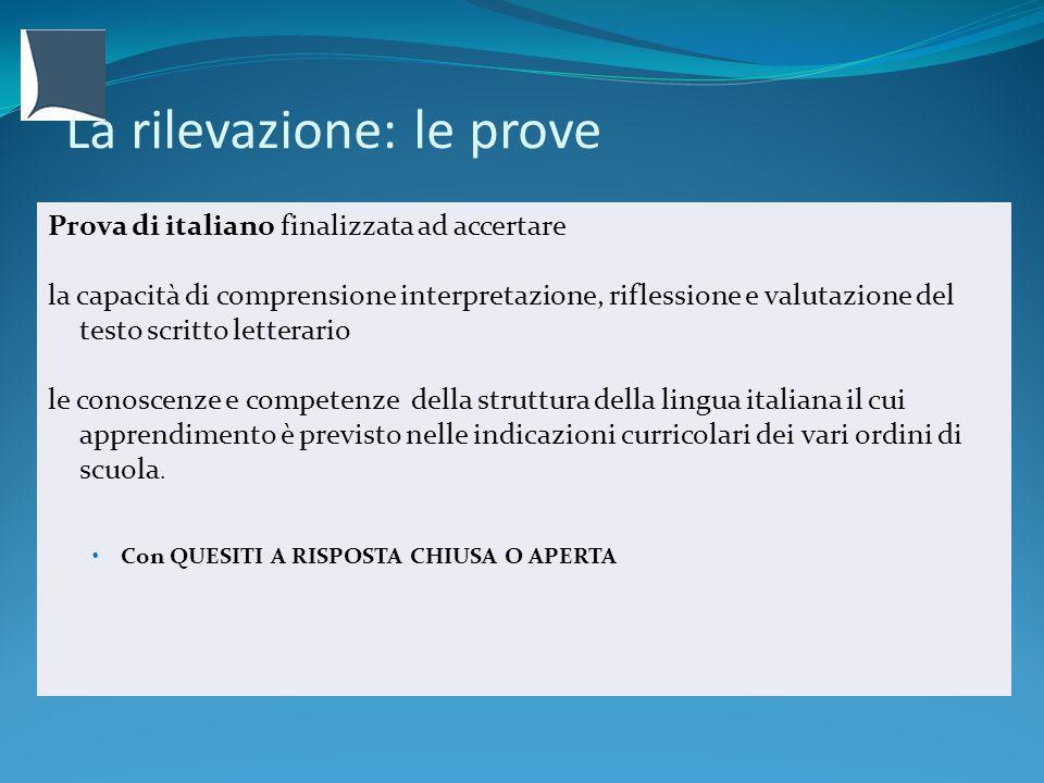 La rilevazione: le prove Prova di italiano finalizzata ad accertare la capacità di comprensione interpretazione, riflessione e valutazione del testo s
