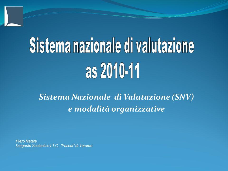 Sistema Nazionale di Valutazione (SNV) e modalità organizzative Piero Natale Dirigente Scolastico I.T.C. Pascal di Teramo